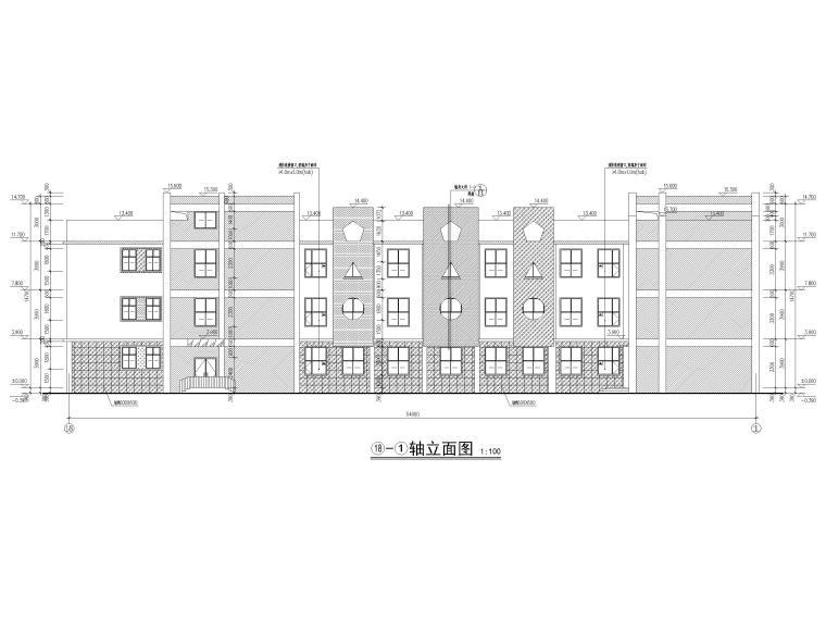 9班框架结构幼儿园建筑施工图2020-立面图2