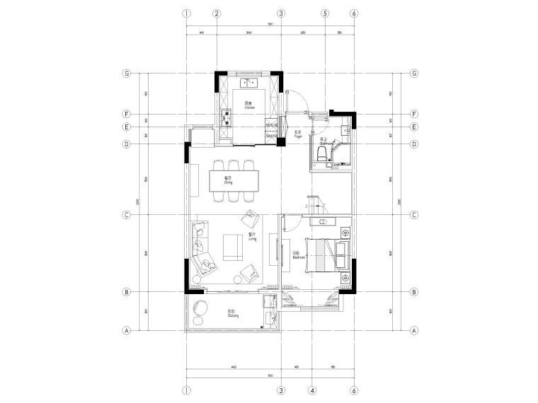 [无锡]金茂府182㎡三居上叠叠墅样板间图纸-三层上叠平面布置图