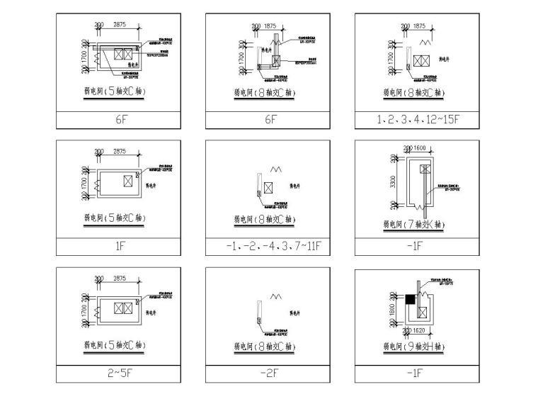 [广东]人民医院门诊楼电气施工图(2020)-4配线间机柜平面图