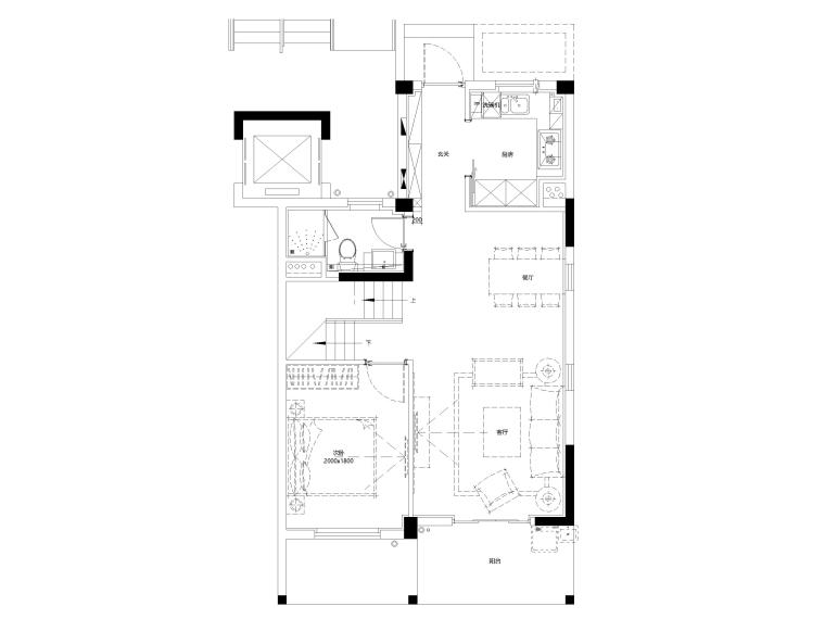 [上海]临港叠拼现代别墅户型样板间施工图-下叠1F平面布置图