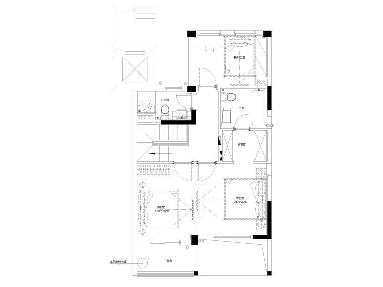 [上海]临港叠拼现代别墅户型样板间施工图-下叠2F平面布置图