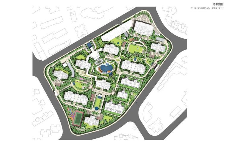 [上海]知名高端居住区景观设计方案-总平面图