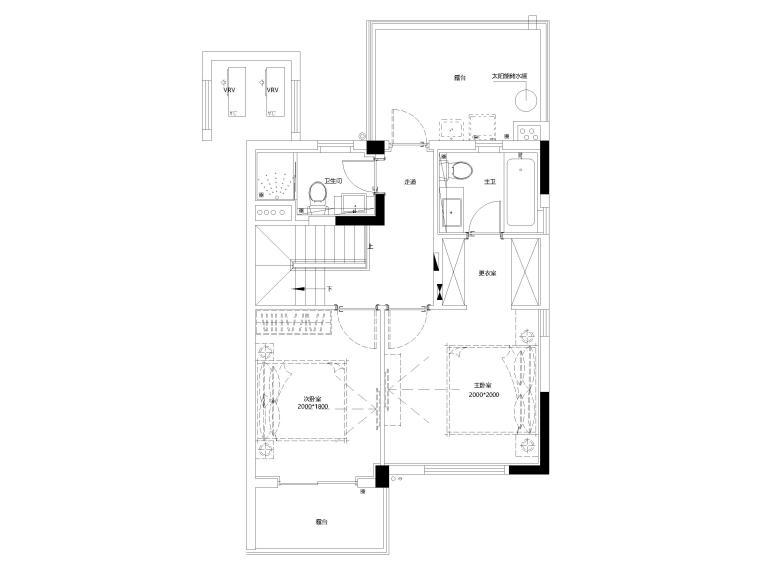 [上海]临港叠拼现代别墅户型样板间施工图-上叠4F平面布置图