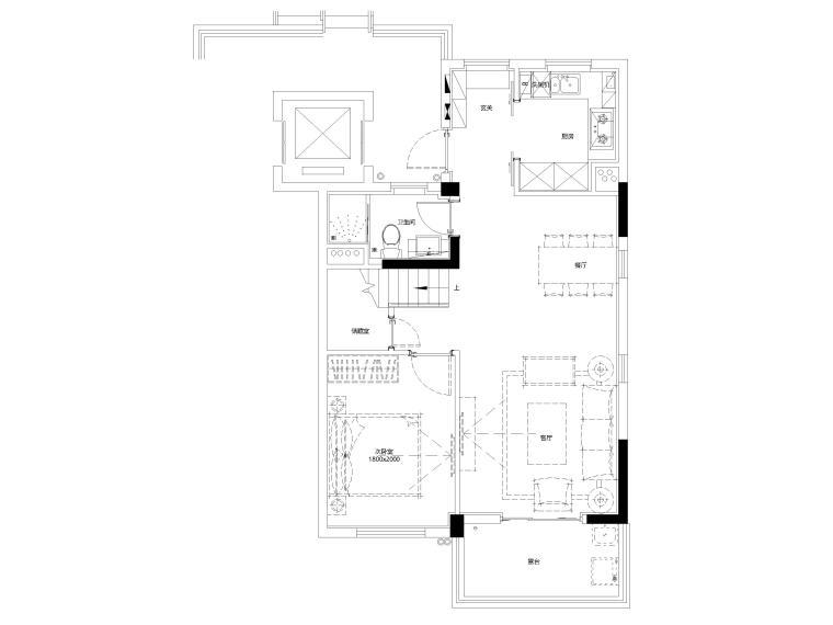 [上海]临港叠拼现代别墅户型样板间施工图-上叠3F平面布置图