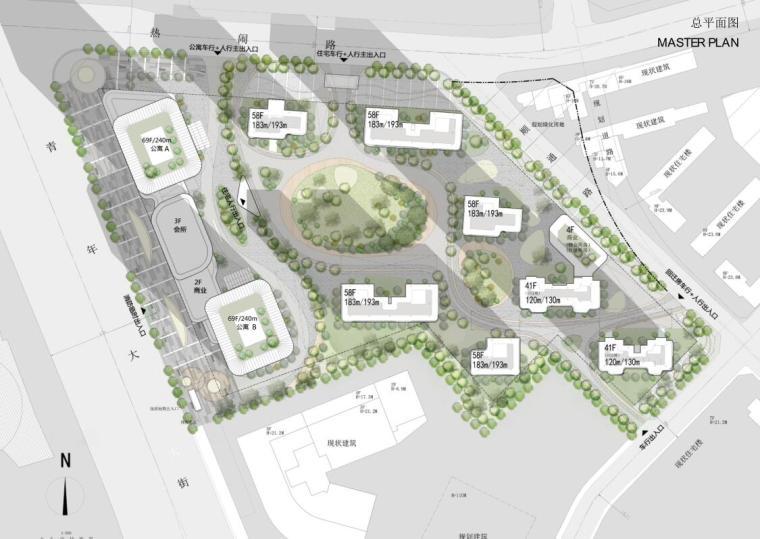 [沈阳]商业+超高层公建化豪宅建筑方案设计-总平面图