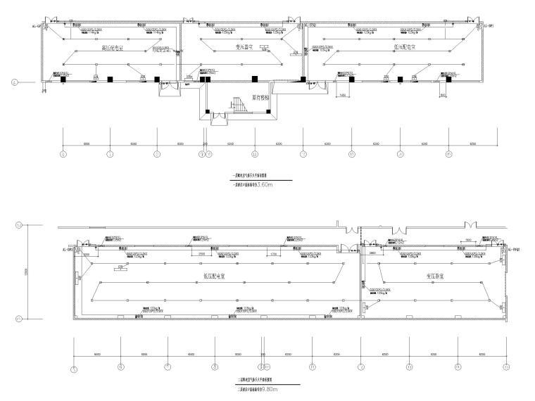 [广州]高端厂房给排水施工图2020_招标文件-一层、二层配电室七氟丙烷无管网灭火系统平面设计图