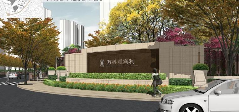 [上海]知名高端居住区景观设计方案-景墙效果图