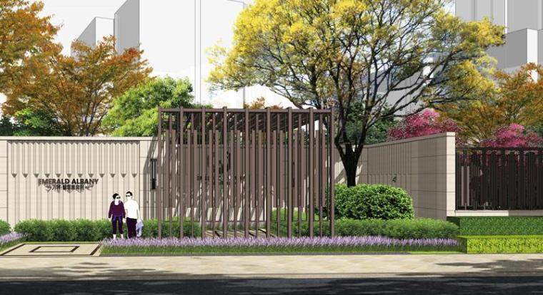 [上海]知名高端居住区景观设计方案-别墅区外围出入口