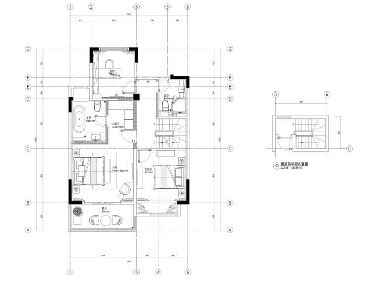 [无锡]金茂府182㎡三居上叠叠墅样板间图纸-四层上叠平面布置图