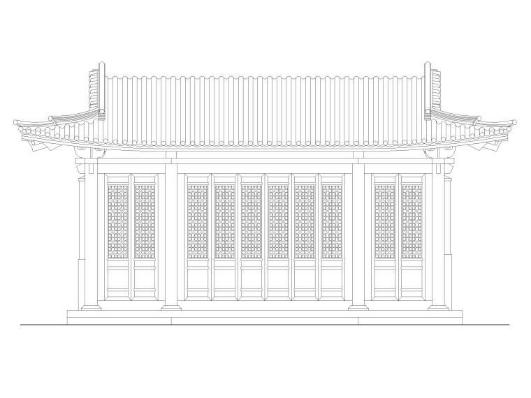 私家园林古建施工图-水榭立面图1