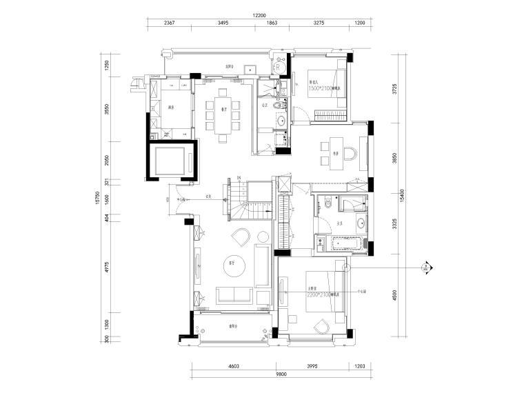 [杭州]西溪诚园270㎡现代跃层样板间施工图-上跃平面布置图