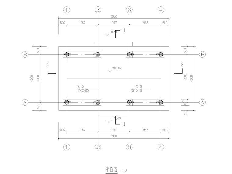 私家园林古建施工图-内庭阁平面图