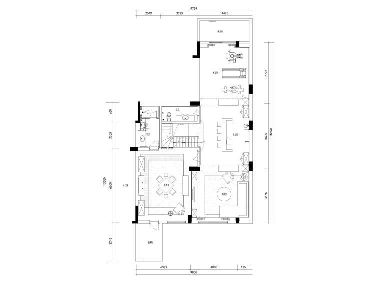 [杭州]西溪诚园270㎡现代跃层样板间施工图-下跃平面布置图