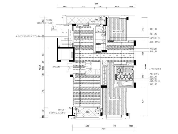[杭州]西溪诚园270㎡现代跃层样板间施工图-上跃地面铺装图