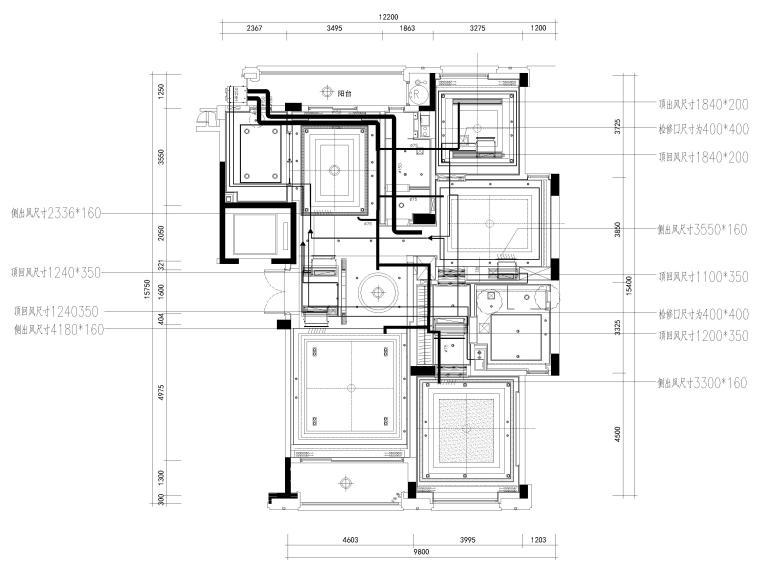 [杭州]西溪诚园270㎡现代跃层样板间施工图-上跃空调,新风管线布置图