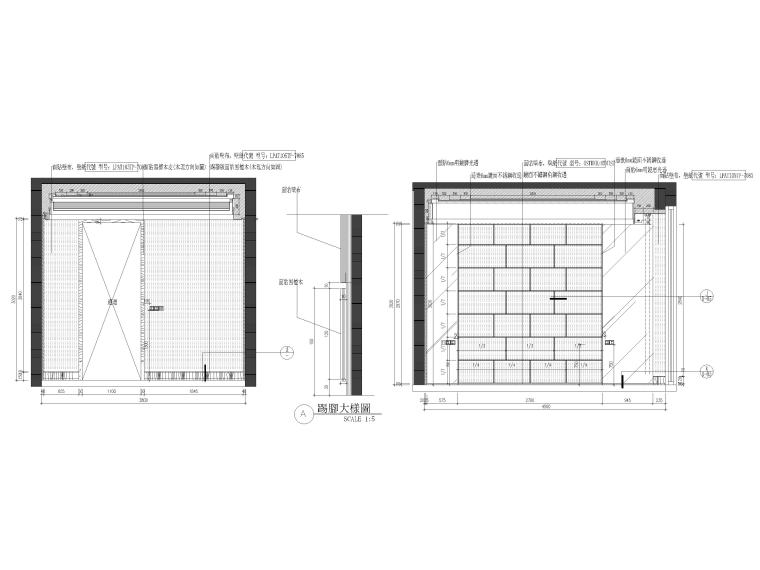 [杭州]西溪诚园270㎡现代跃层样板间施工图-主卧立面图