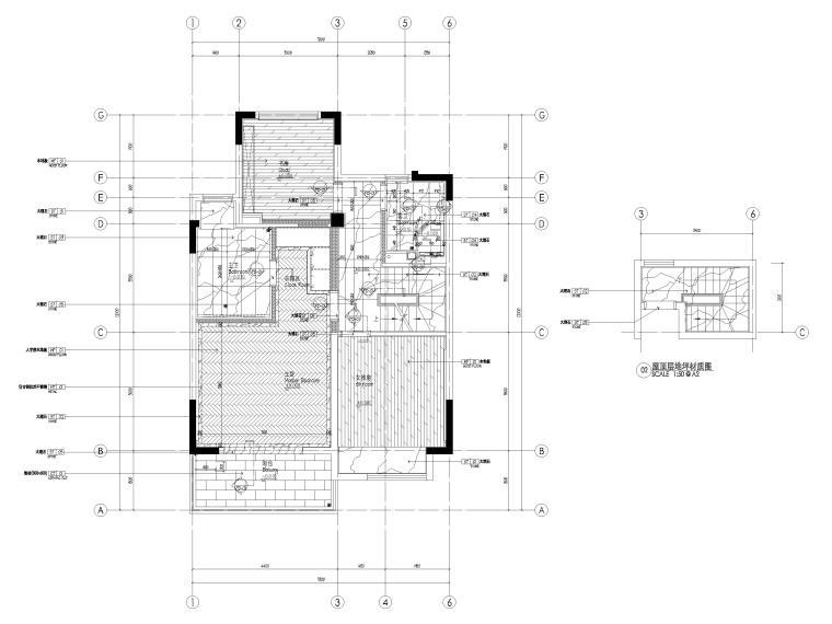 [无锡]金茂府182㎡三居上叠叠墅样板间图纸-四层上叠地面铺装图