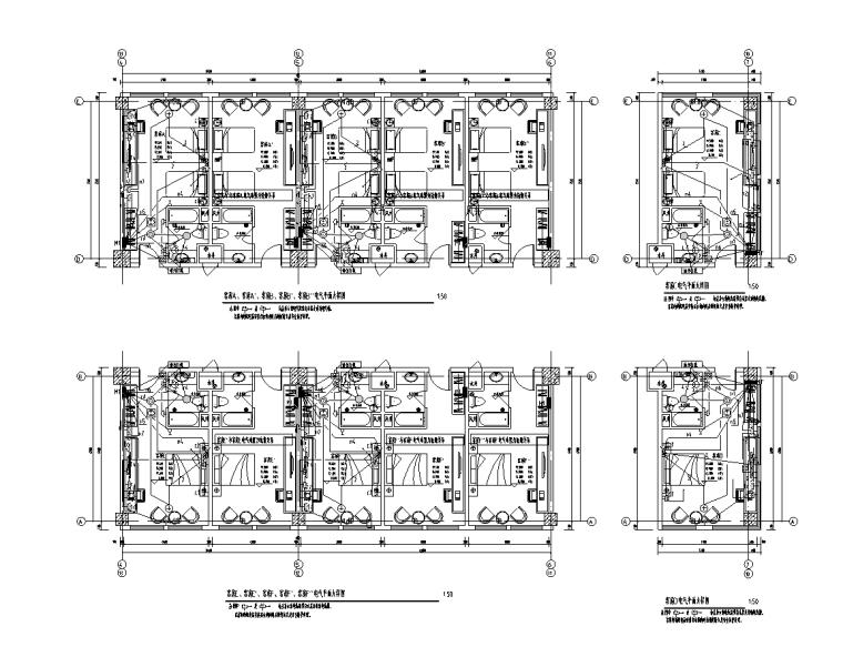 陕西省6层公共建筑电气施工图(含计算书)-客房电气平面大样图(一)