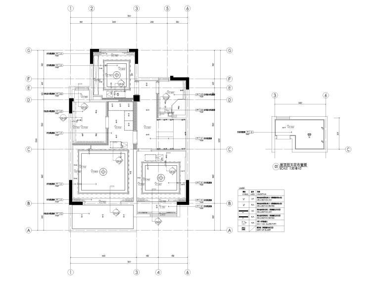 [无锡]金茂府182㎡三居上叠叠墅样板间图纸-四层上叠天花布置图