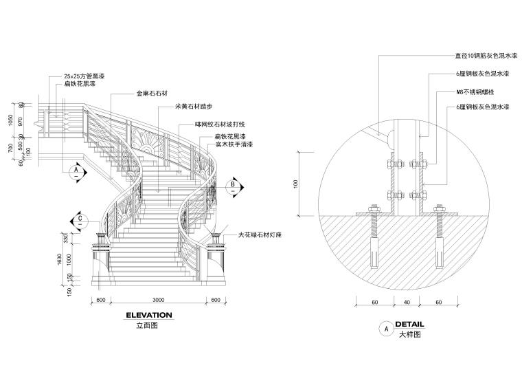 室内通用节点(干挂,吊杆,铝板,五金等)-楼梯节点详图