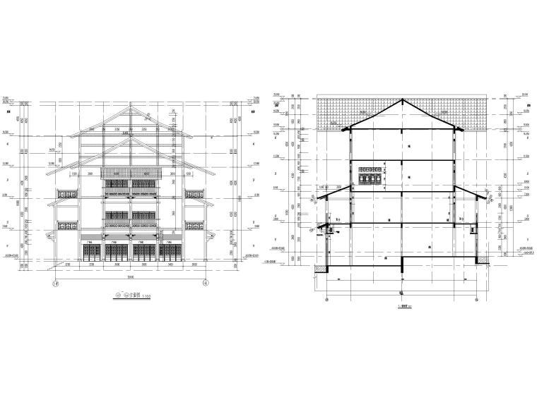 片区棚改单多层商业建筑施工图2019含标文-1#楼立面图、剖面图