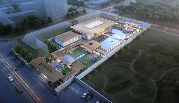[山东]枣庄新中式风格示范区景观设计方案-鸟瞰图