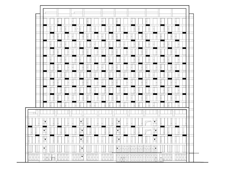 综合性高层医院建筑初设图CAD2018-立面图1