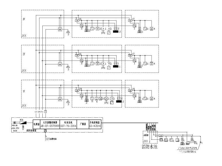 八套2020最新电气图纸_各类建筑-三层幼儿园电气施工图(2020含招标文件)-5火灾自动报警系统图