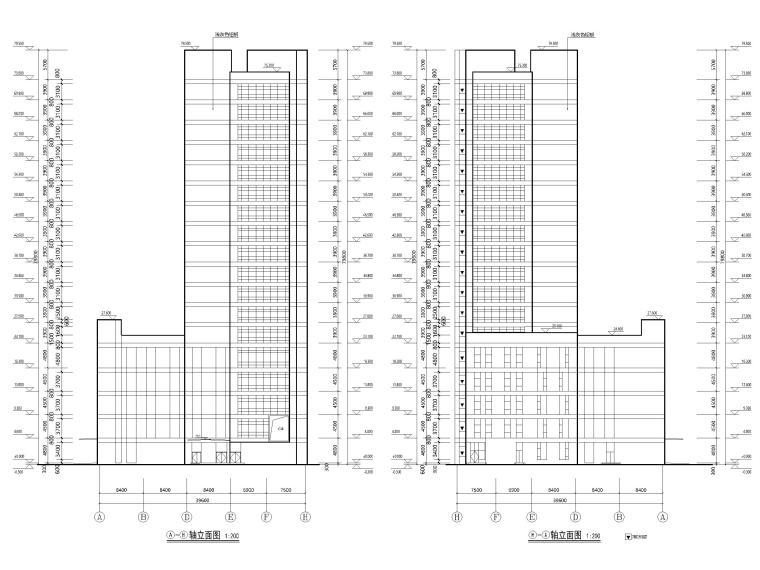 综合性高层医院建筑初设图CAD2018-立面图2