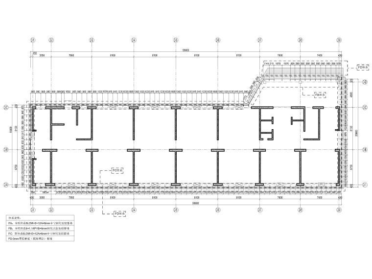 [上海]张江绿地商务办公楼项目幕墙工程图纸-一层平面体系图