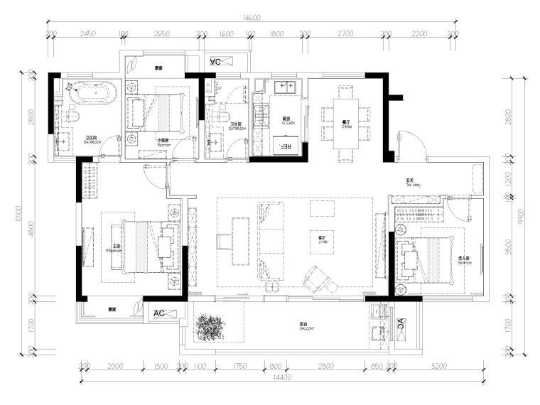 [无锡]金茂府122㎡现代两居样板间装修图纸-平面布置图