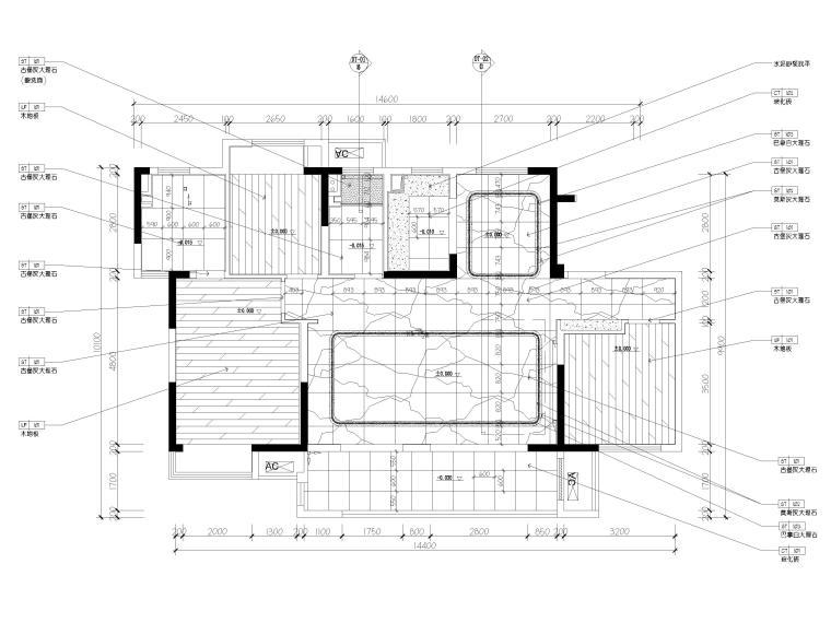 [无锡]金茂府122㎡现代两居样板间装修图纸-地面铺装图