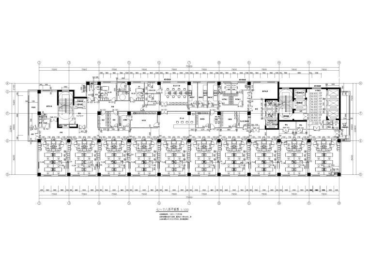 综合性高层医院建筑初设图CAD2018-七~十八层平面图