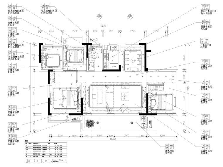 [无锡]金茂府122㎡现代两居样板间装修图纸-天花布置图