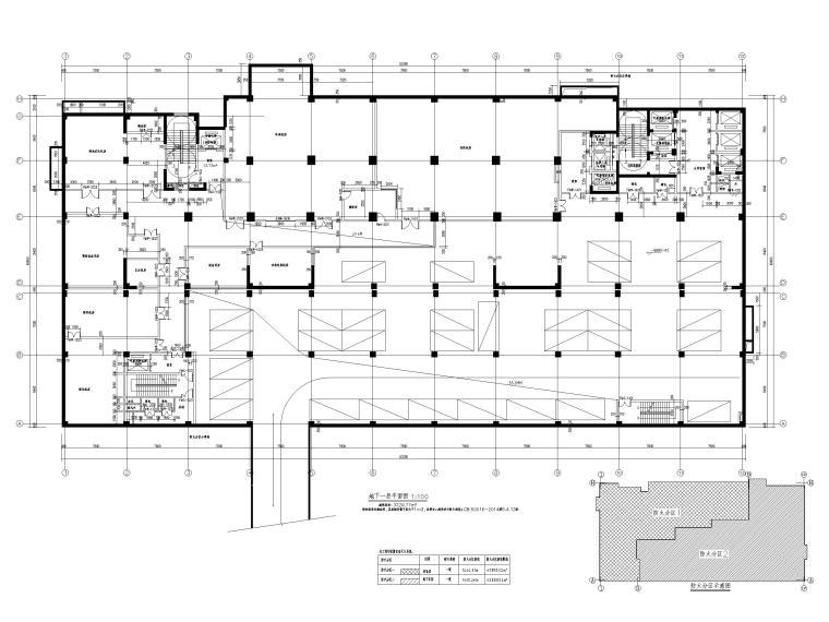 综合性高层医院建筑初设图CAD2018-地下一层平面图