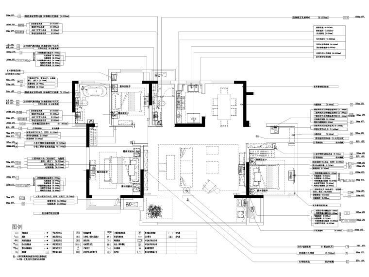 [无锡]金茂府122㎡现代两居样板间装修图纸-机电布置图