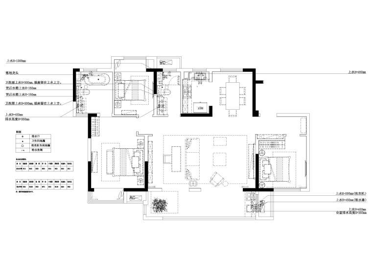 [无锡]金茂府122㎡现代两居样板间装修图纸-给排水点位布置图