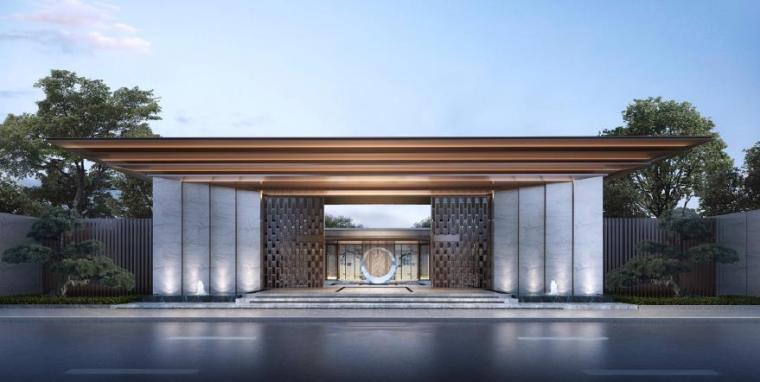 [山东]枣庄新中式风格示范区景观设计方案-入口景观效果图