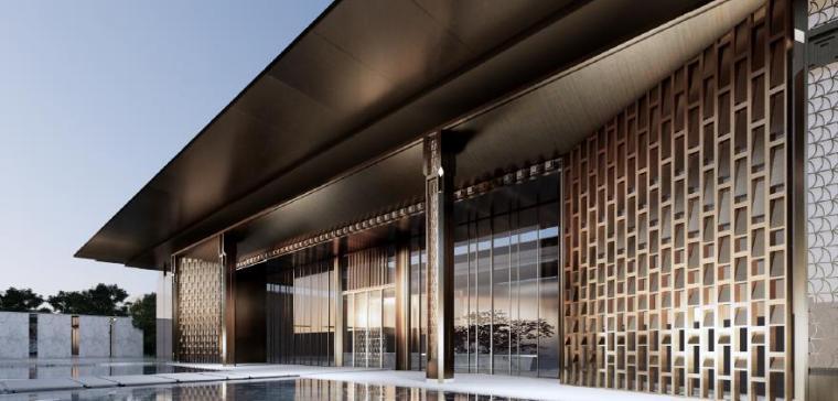 [山东]枣庄新中式风格示范区景观设计方案-景墙效果图