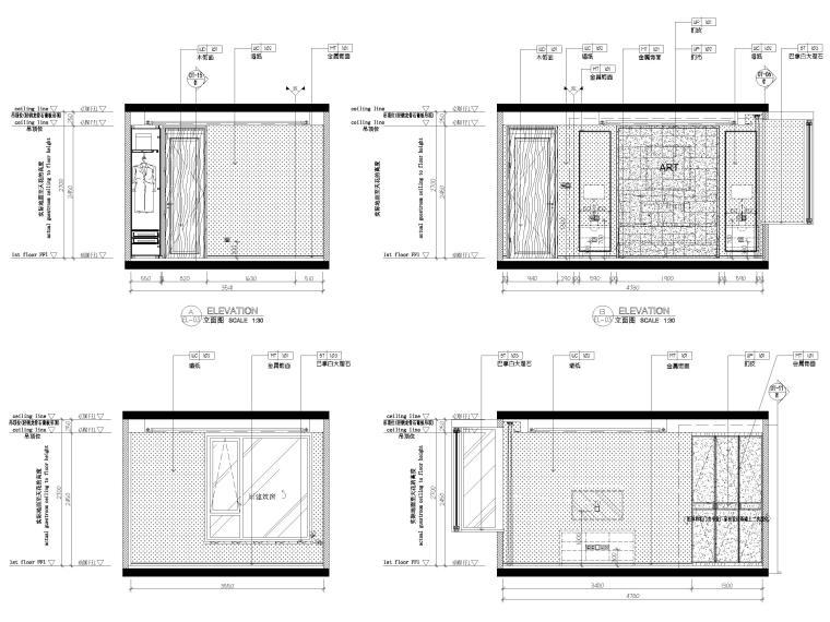 [无锡]金茂府122㎡现代两居样板间装修图纸-卧室立面图