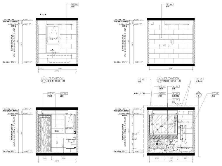 [无锡]金茂府122㎡现代两居样板间装修图纸-卫生间立面图