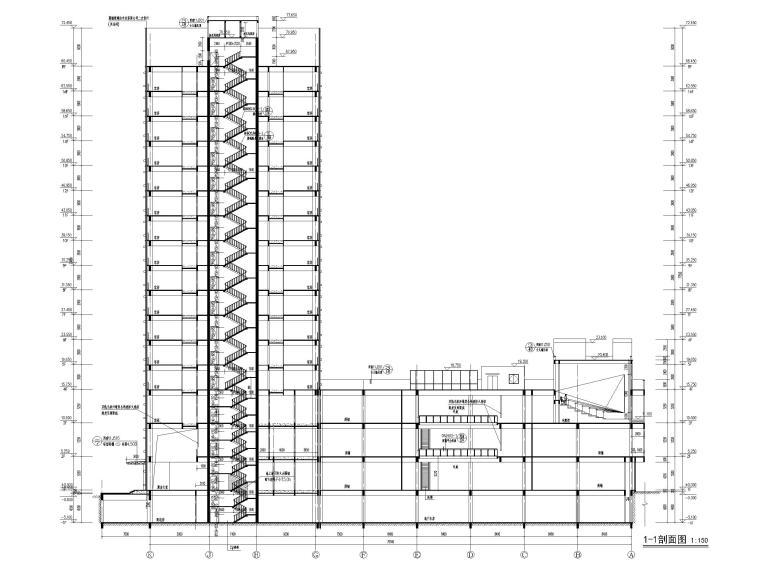 脱贫攻坚产业孵化园配套商业建筑施工图2019-1-1剖面图