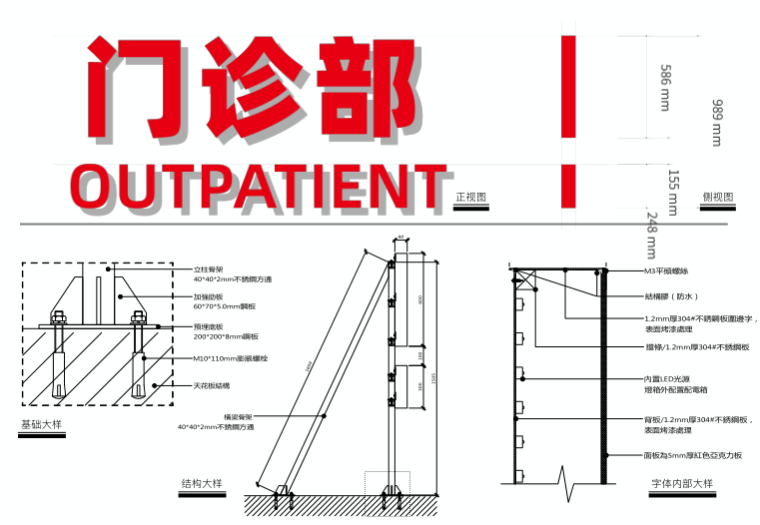 医院整体扩建门诊综合楼导向标识专项施工图-1