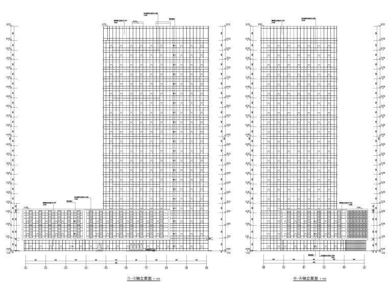 脱贫攻坚产业孵化园配套商业建筑施工图2019-孵化楼立面图