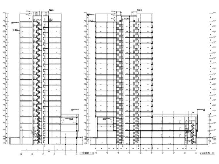 脱贫攻坚产业孵化园配套商业建筑施工图2019-孵化楼剖面图