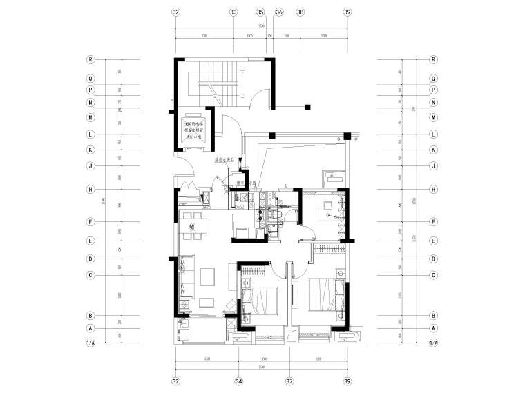 [宁波]中河大都会77㎡现代两居室家装施工图-给水平面图