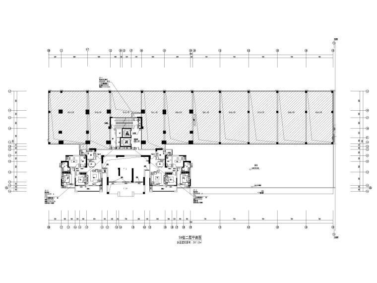 [贵州]30余万平高层住宅暖通图纸含招标文件-1#楼二层平面图