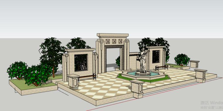 欧式喷泉平面图设计资料下载-小区欧式景墙雕塑喷泉组合场景SU模型