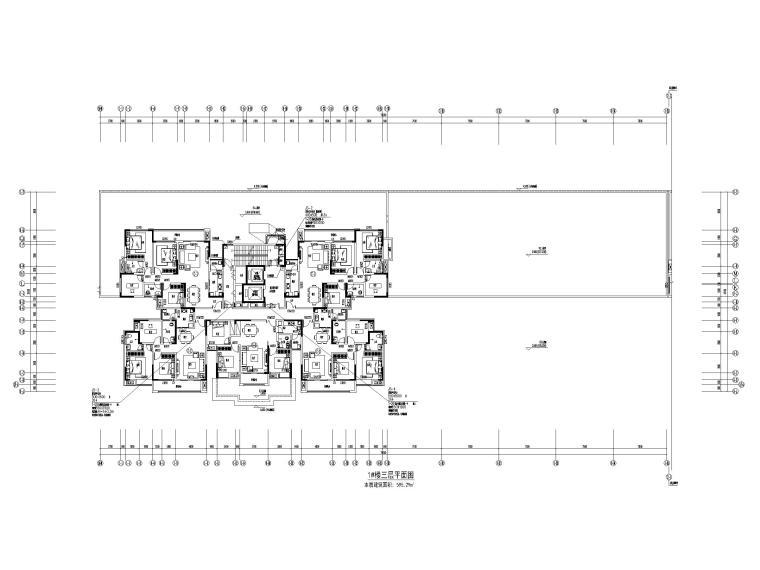 [贵州]30余万平高层住宅暖通图纸含招标文件-1#楼三层平面图