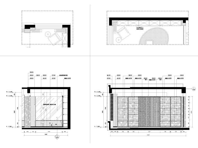 [宁波]182㎡现代三居室上叠别墅家装施工图-4F书房立面图